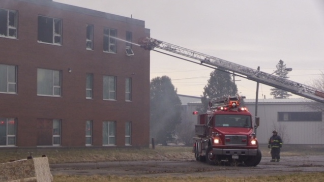 Crews work at the scene of a fire at the old Centralia College in Huron Park, Ont. on Thursday, April 11, 2019. (Scott Miller / CTV London)