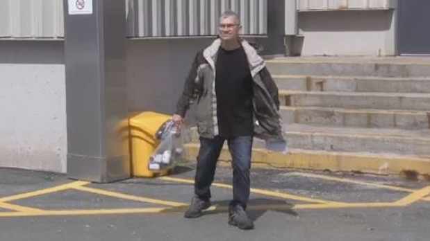 Jaddus Joseph Poirier leaves Dartmouth provincial court on April 11, 2019. Poirier is facing 16 charges in connection with alleged sexual assaults involving minors in the Halifax area decades ago.