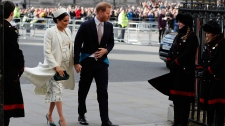 In this file photo dated Monday, March 11, 2019, Britain's Prince Harry and Meghan the Duchess of Sussex arrive to attend the Commonwealth Service at Westminster Abbey on Commonwealth Day in London. Pr (AP Photo/Frank Augstein, FILE)