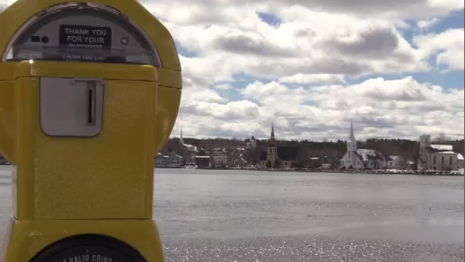 There are three parking meters placed in parking lots with a view of the three churches in Mahone Bay N.S., with plans for three more meters to be installed by the summer months.
