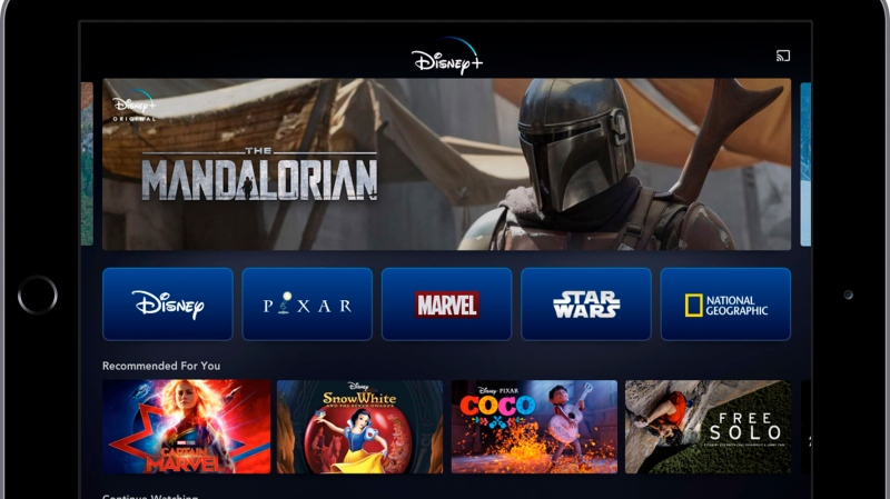 This image provided by Disney shows a product image of Disney Plus on a tablet. (Disney via AP)