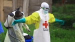In this Sunday, Sept 9, 2018 file photo, a health worker sprays disinfectant on his colleague after working at an Ebola treatment center in Beni, eastern Congo. (AP Photo/Al-hadji Kudra Maliro, File)