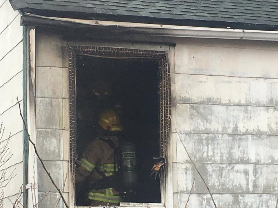 Firefighters battle blaze in North Bay home (Brittany Bortolon/CTV Northern Ontario)