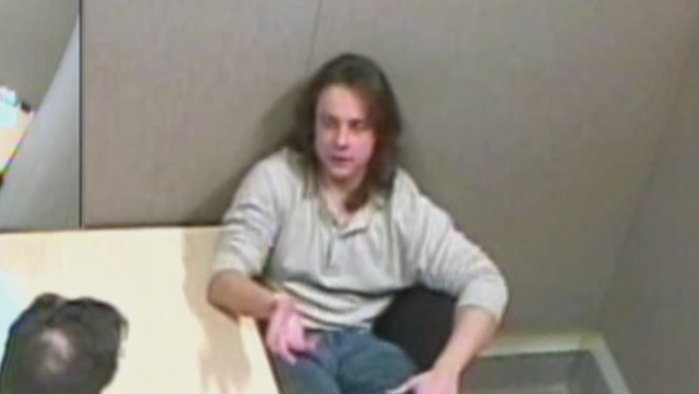 Jared Eliasson is seen in a recorded police interview.