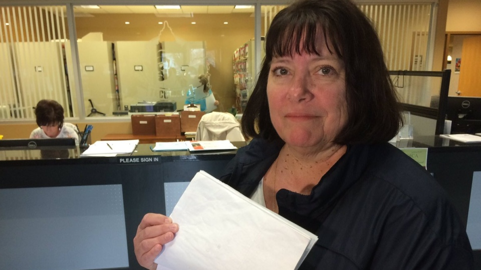 Representatives from ONA are delivering a petition with 1000 signatures to health unit chair Gary McNamara in Tecumseh, Ont., on Friday, April 12, 2019. (Alana Hadadean / CTV Windsor)