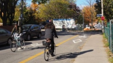 A contraflow bike lane