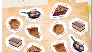 "Besides the Nanaimo bar, the ""Sweet Canada"" stamp set also features Saskatoon berry pie butter tarts, tarte au sucre (sugar pie) and blueberry grunt. (Canada Post)"