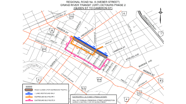 A map shows bus routes being rerouted along Duke Street and King Street. (Source: Region of Waterloo)