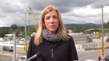 Janelle Staite, regional deputy director for the Ministry of Transportation and Infrastructure, speaks with media on April 12, 2019. (CTV Vancouver Island)