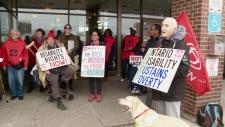 ACORN rally outside Jeremy Roberts' office.