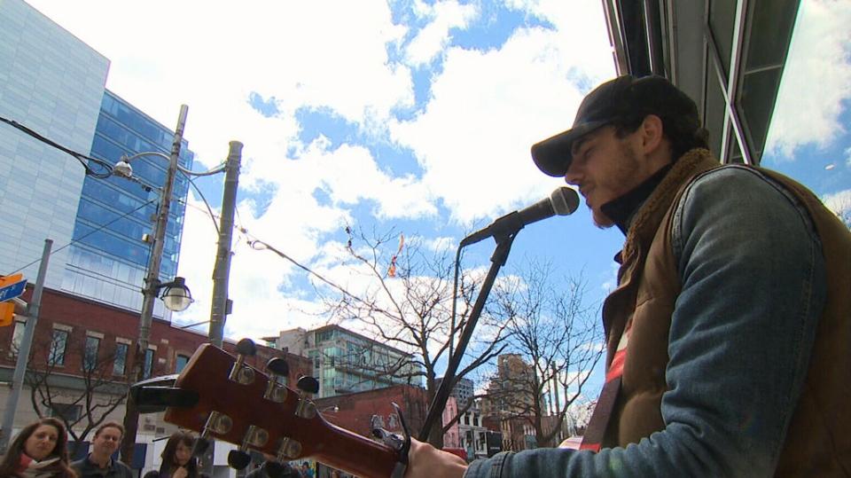 Singer-songwriter Jordan Hart performs in downtown Toronto.