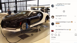 Ding Chen's custom Bugatti Chiron is seen in this image from social media.