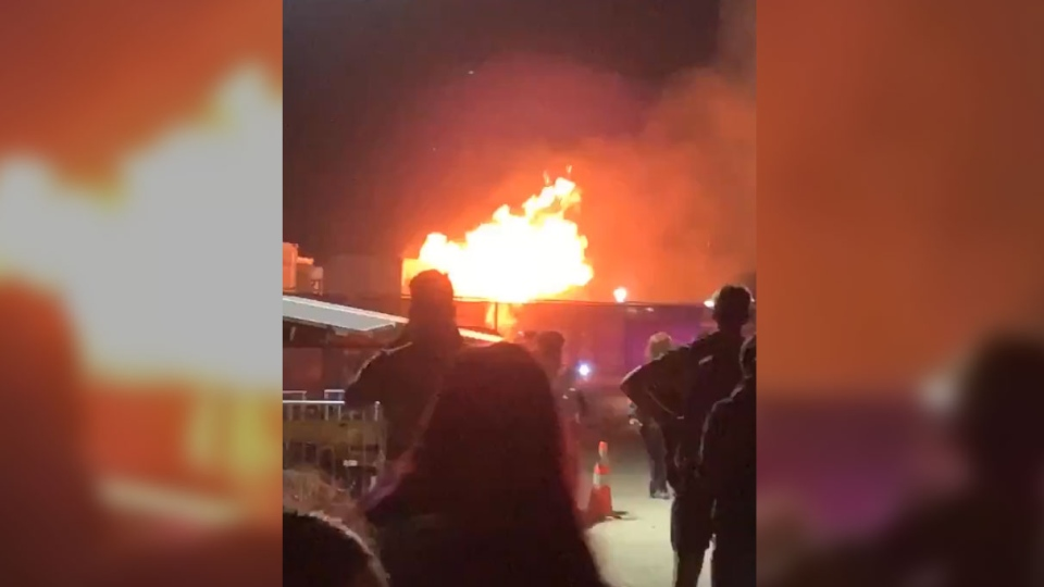 Concert-goers were forced to flee after a massive fire broke out at Coachella Festival's concert grounds early Saturday morning. (Credit: @spxheda via Storyful)
