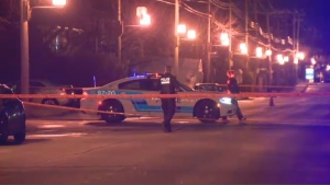 According to police, shots were fired from a vehicle passing through the intersection of Kildare Rd. and Eldridge Ave. in Cote-St-Luc on Saturday night. (CTV Montreal)