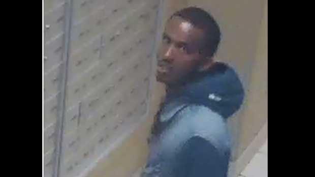 A man wanted in a sexual assault investigation is shown in a surveillance camera image. (TPS)