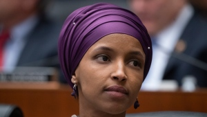 In this March 6, 2019, file photo, Rep. Ilhan Omar, D-Minn., sits with fellow Democrats on the House Education and Labor Committee during a bill markup, on Capitol Hill in Washington. (AP Photo/J. Scott Applewhite, File)