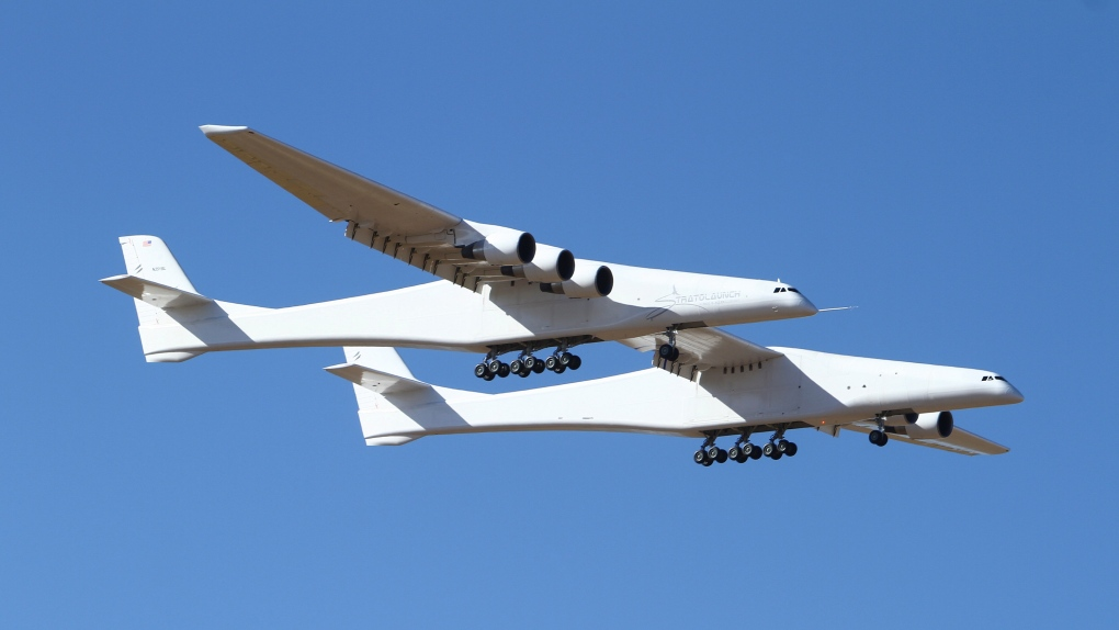 Watch plane with world's longest wingspan lift off