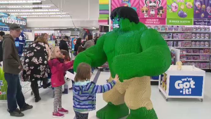 Supersized Hulk LEGO statue in Kitchener. (Apr. 13, 2019)
