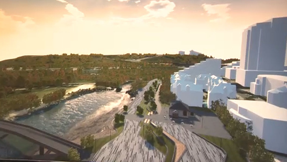 A virtual reality rendering shows what Eau Claire will look like in the future.