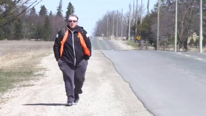 Zach Saraceni walked from Kitchener to Woodstock on April 13, 2019.