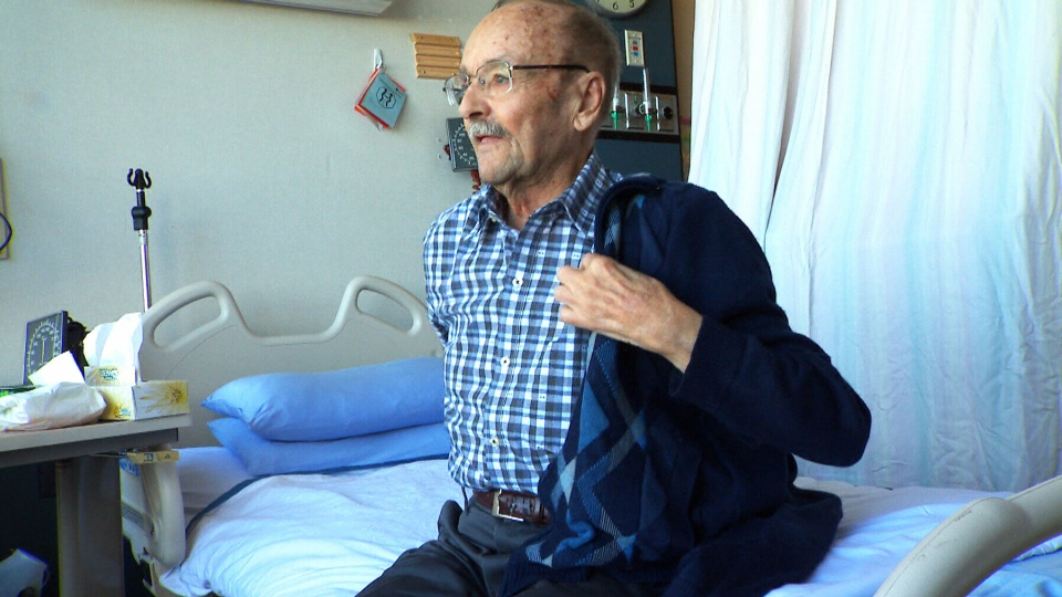 """Patient Bob Marry, at Rockyview General Hospital in Calgary, is glad to be wearing his regular clothes because he doesn't like hospital gowns. """"You are always looking around to make sure the back is tied up,"""" he said."""
