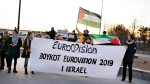 An anti Israeli demonstration protest against the Danish participation in the Eurovision Song Contest, in Herning, Denmark, Saturday Feb. 23, 2019, during a contest to chose the Danish participant for the Eurovision Song Contest to be held in Israel in May. The demonstrators want the Danish television company Danmarks Radio to cancel their participation in the Eurovision Song Contest, because they feel that the song contest is used to whitewash Israel's alleged violations of Palestinian rights. (Henning Bagger/Ritzau Scanpix via AP)