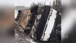 Charter bus flips over on its way to Big White Ski Resort.