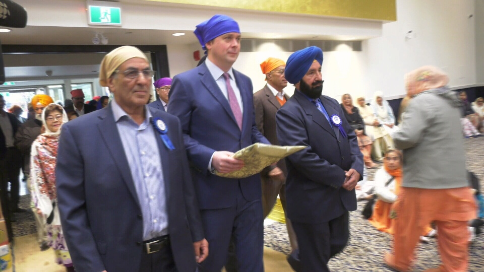 Opposition Leader Andrew Scheer speaks at an event at Vancouver's Ross Street Temple.