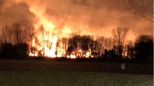 A fire seen on Fighting Island across from LaSalle