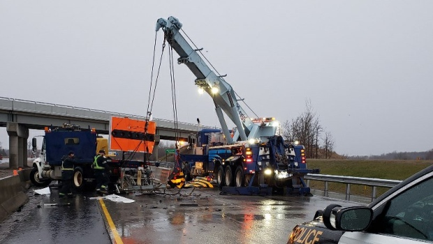 Highway 401 crash near Col. Talbot Road