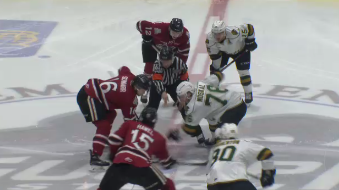 The Guelph Storm play the London Knights at the Sleeman Centre. (Apr. 13, 2019)