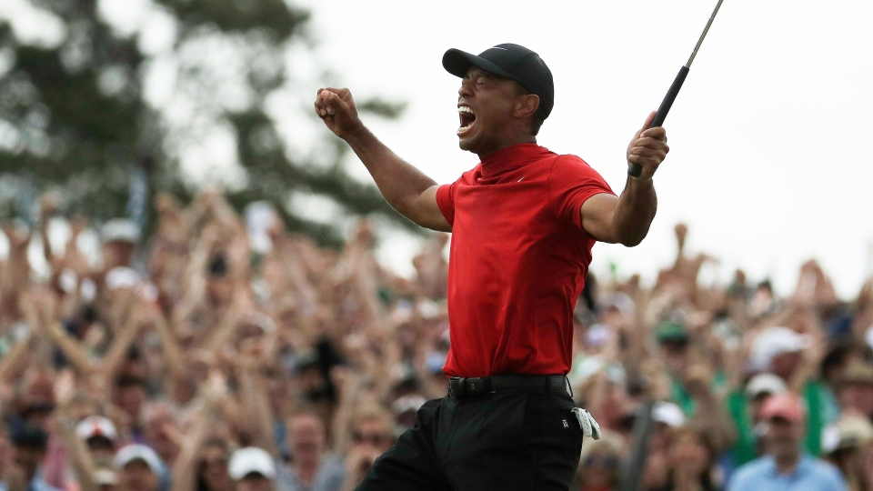 Tiger Woods reacts as he wins the Masters golf tournament Sunday, April 14, 2019, in Augusta, Ga. (AP Photo/Charlie Riedel)