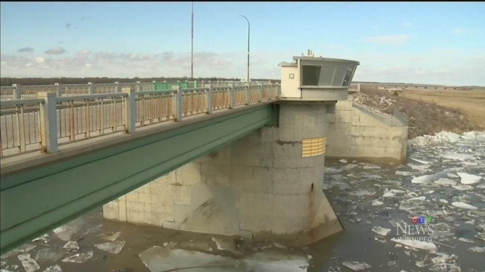 CTV file image of the Red River Floodway gate structure.