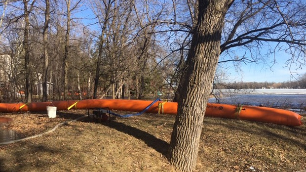A tube dike is set up to hold back rising water along Netley Creek. (Beth Macdonell/CTV News)