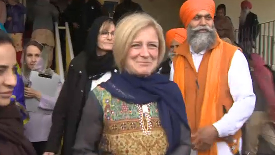 NDP leader Rachel Notley attended Calgary's Vaisakhi and afterwards took aim at her closest opponent, Jason Kenney.