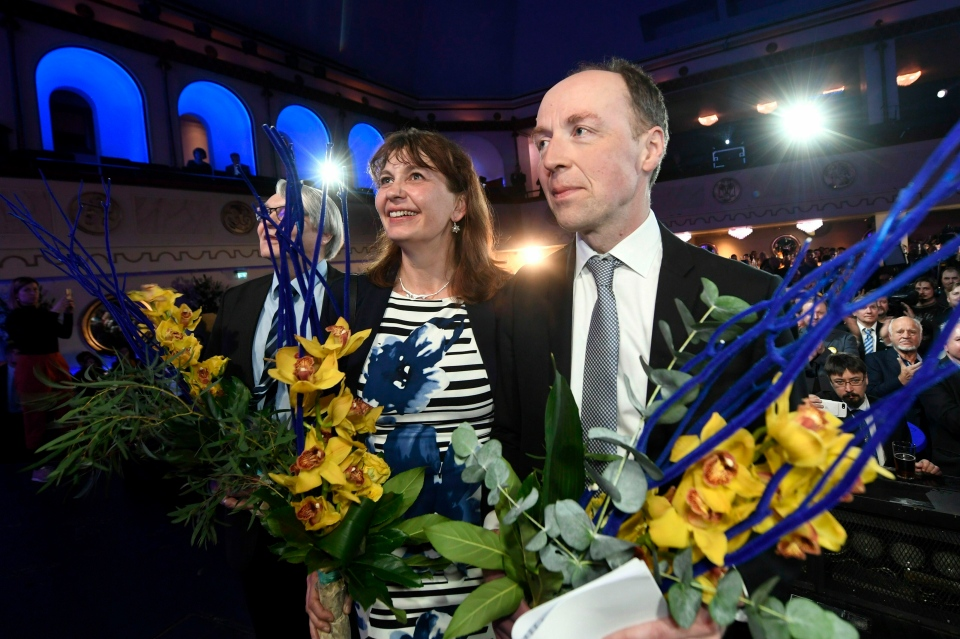 Party Secretary Riikka Slunga-Poutsalo and Chairman of The Finns Party Jussi Halla-aho attend The Finns Party parliamentary election party in Helsinki, Finland on Sunday, April 14, 2019. (Vesa Moilanen/Lehtikuva via AP)