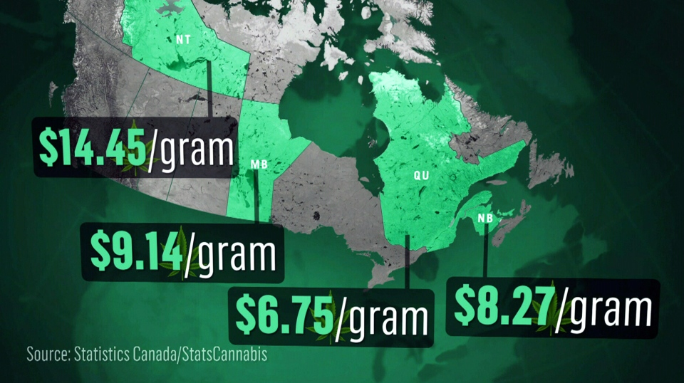 A Statistics Canada map showing pot prices across Canada. (StatsCan)