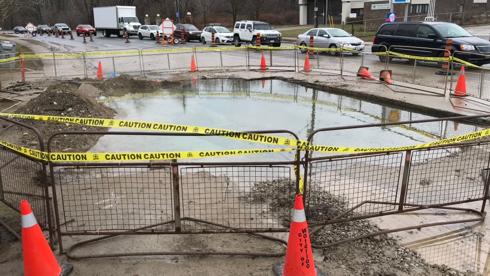 City officials have closed off a portion of Westmount Road following a water main break. (Jeff Pickel / CTV Kitchener)