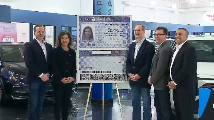 The Ontario government unveils a redesigned version of a driver's licence on April 15, 2019.
