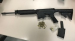 Police released this photo of a semi-automatic assault-style rifle that was seized on Sunday. (Toronto Police Service handout)