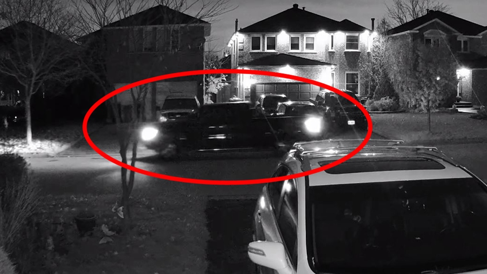 A suspect vehicle believed to have been used in a Nov. 7, 2018 crossbow attack on a Mississauga woman is pictured in this image made from surveillance footage. (Handout /Peel Regional Police)