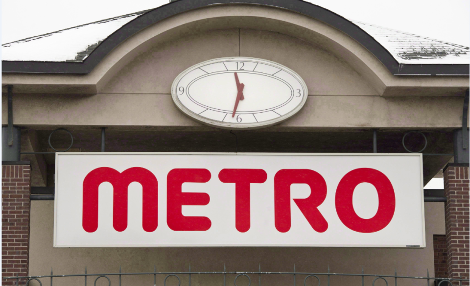 The logo of a Metro grocery store is seen in Montreal on January 31, 2012. Grocery chain Metro Inc. will allow customers to use reusable containers and zipper bags to purchase fresh products in stores across Quebec.THE CANADIAN PRESS/Paul Chiasson