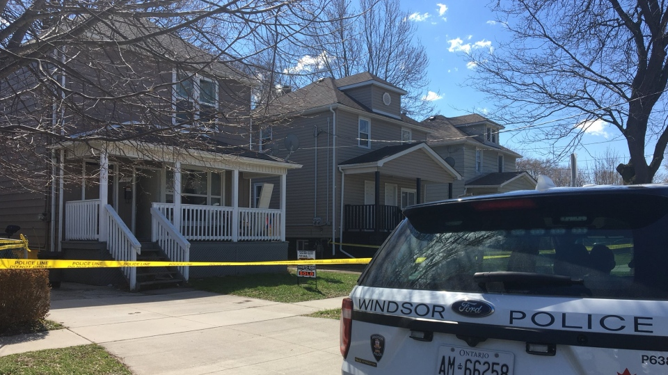 Windsor police have a home taped off on Cross Street as part of a missing person investigation in Windsor, Ont., on Monday, April 15, 2019. (Ricardo Veneza / CTV Windsor)