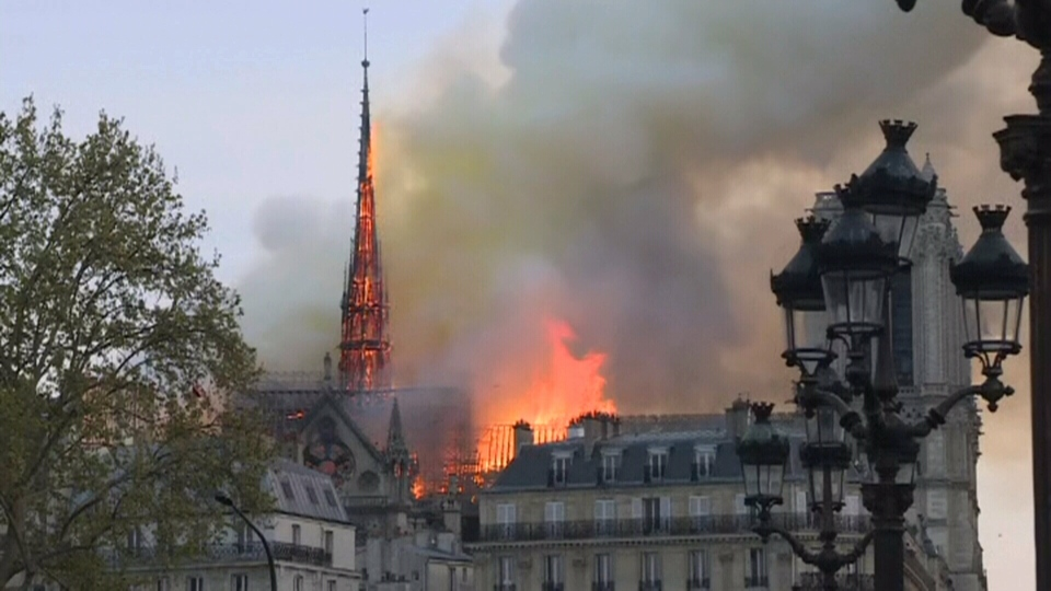 Fire at historic Notre Dame cathedral in Paris, Monday, April 15, 2019.