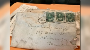 Construction crews working in downtown Winnipeg discovered a collection of love letters hidden for decades. (Photos: Jon Hendricks/CTV News)