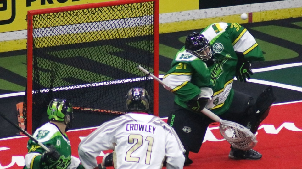 Rush goaltender Adam Shute makes a shoulder save against the Philadelphia Wings. (Shawn Slaght/CTV Regina)