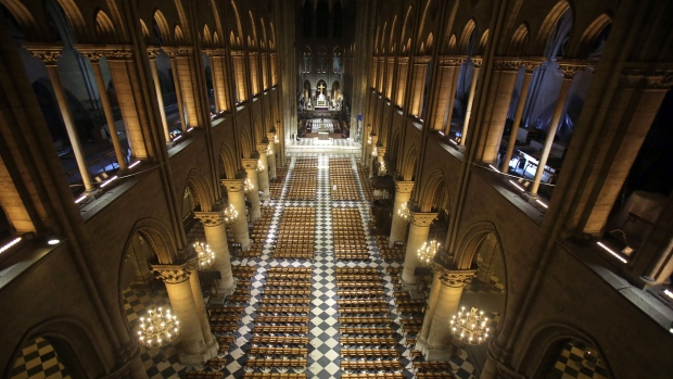 View of Notre Dame Cathedral in Paris with its new interior lighting presented, Tuesday, March 11, 2014. (AP / Remy de la Mauviniere)