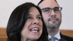 Montreal Mayor Valerie Plante responds to a question as opposition leader Lionel Perez looks on during a news conference in Montreal on Monday, April 15, 2019. THE CANADIAN PRESS/Paul Chiasson