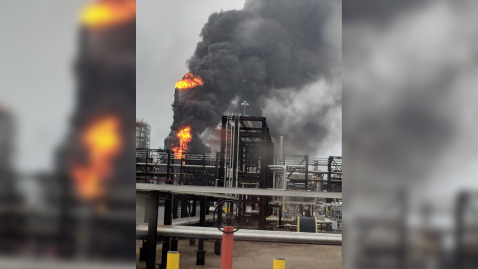 Fire at the Shell Scotford facility on April 15, 2019.