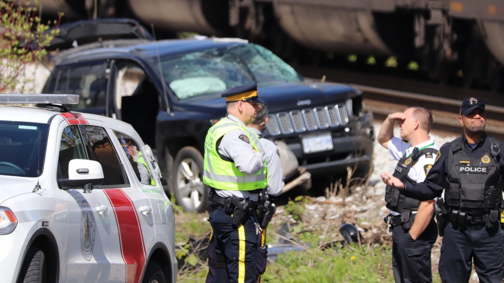 Jeep hit by train in Surrey
